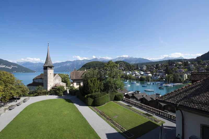 Courtyard of Spiez castle, Switzerland royalty free stock photography