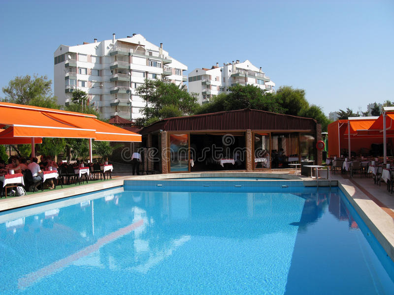 The courtyard with swimming pool in Antalya restaurant royalty free stock images