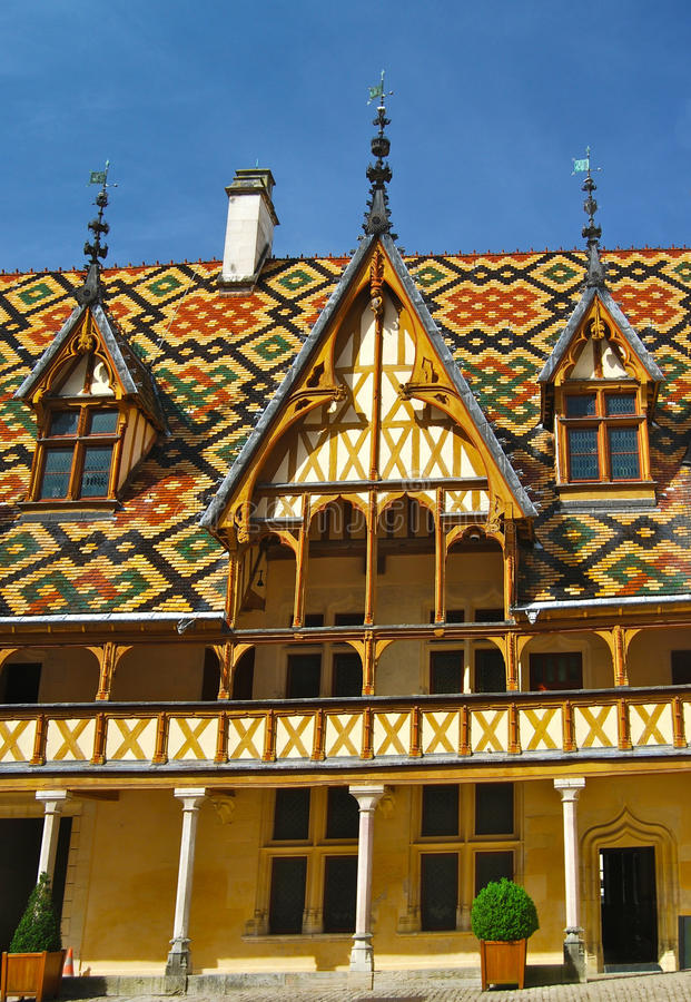 Hospices de Beaune Hotel Dieu Courtyard. A hospital foundation from the Middle Ages, the Hospices de Beaune is one of Frances most prestigious historic monuments stock photography