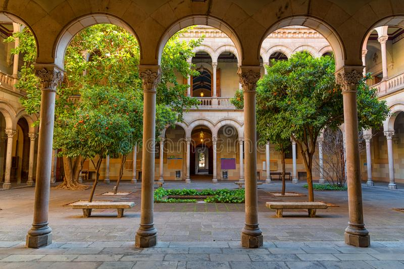 Courtyard of university of Barcelona royalty free stock photo