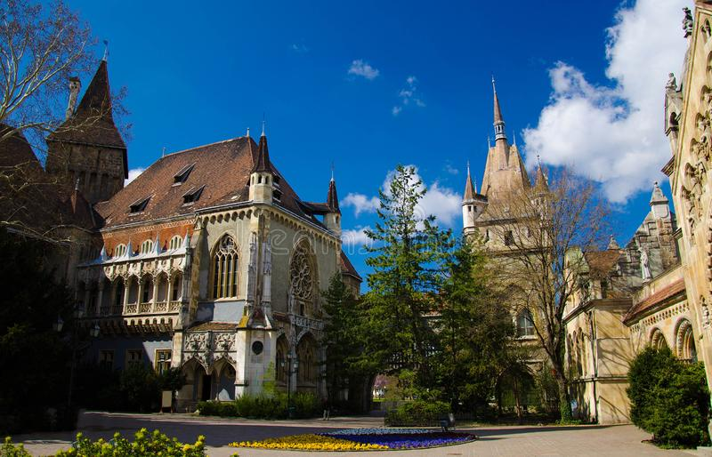 Courtyard of Vajdahunyad Castle in City Park, Budapest, Hungary stock image