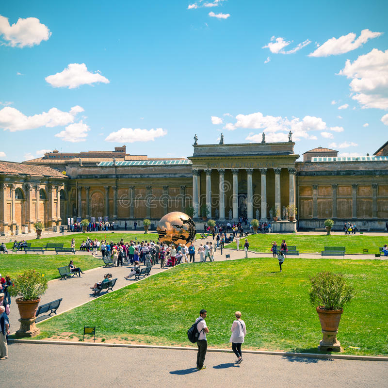 The courtyard of Vatican Museum, Vatican, Rome stock images