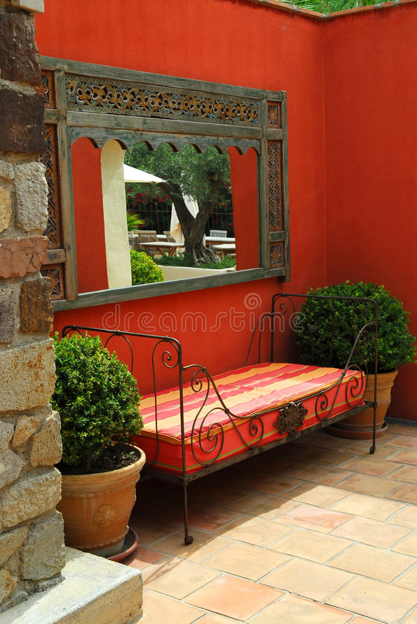 Download Courtyard of a villa stock image. Image of greek, mirror - 4530969