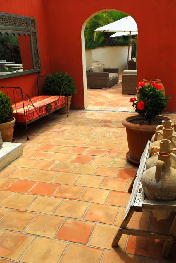 Courtyard of a villa stock photo