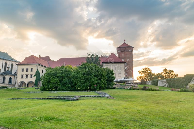 Courtyard Wawel Royal Castle complex in Krakow, Poland at sunrise royalty free stock photo