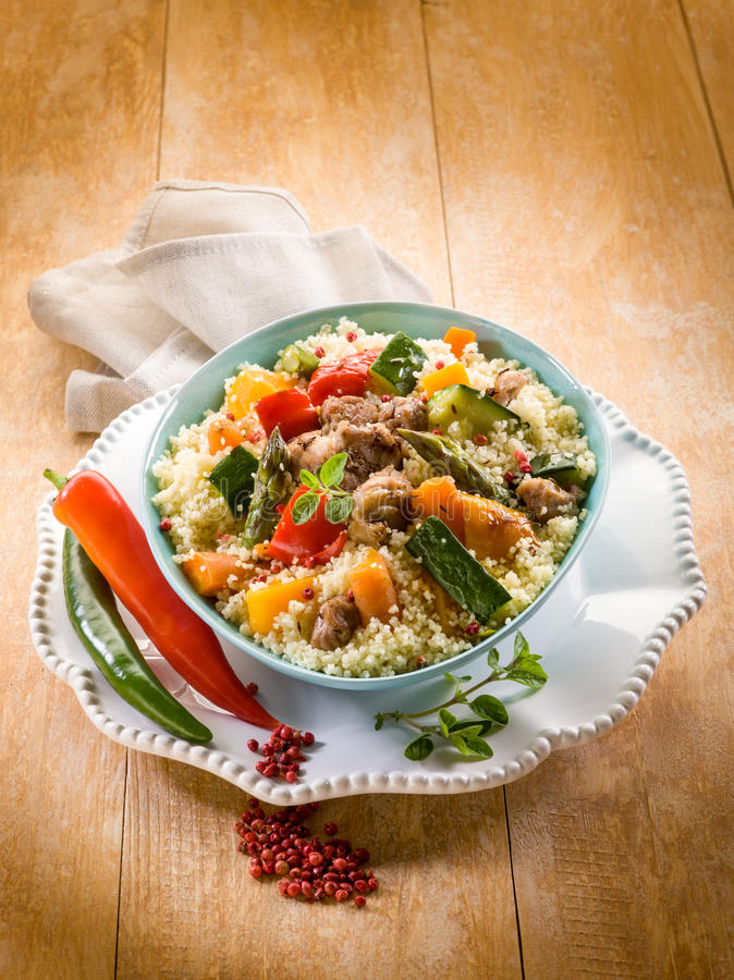 Cous cous with meat royalty free stock photos