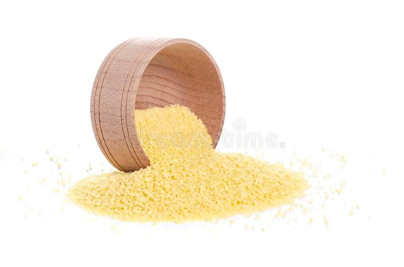 Cous cous in wooden bowl royalty free stock image