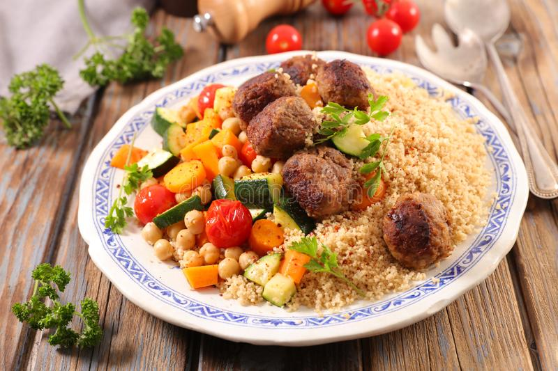 Couscous with meatball royalty free stock photos