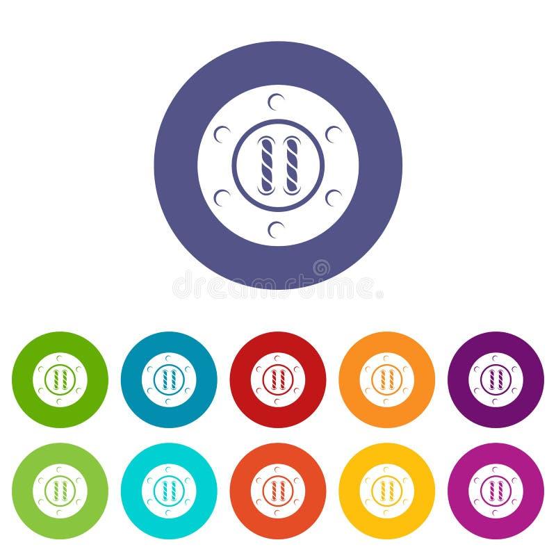 Cousez la couleur de vecteur d'ensemble d'icônes de bouton illustration de vecteur