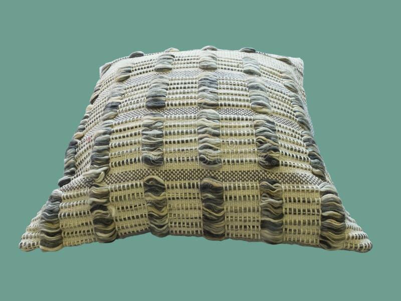 Coussin décoratif avec le modèle tricoté photographie stock