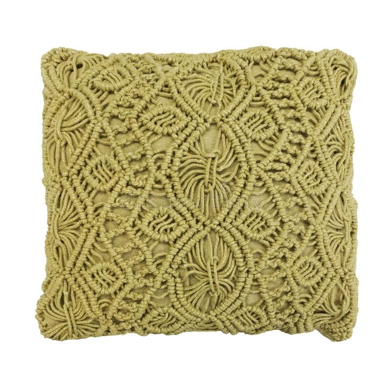 Coussin décoratif avec le modèle tricoté photos stock