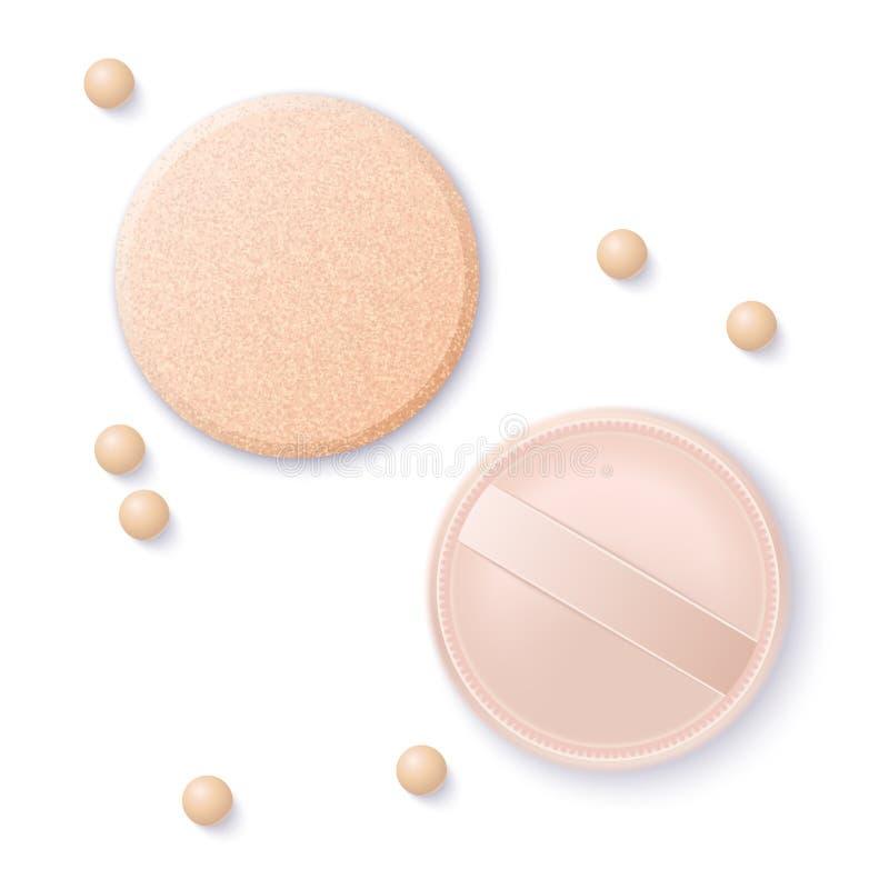 Coussin et éponge réalistes de base de vecteur pour le beau maquillage La perle beige cosmétique décorative composent la poudre illustration stock