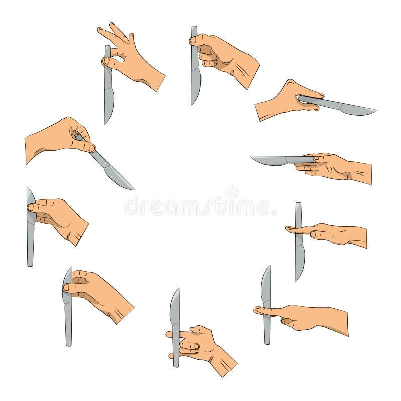Couteau à disposition Bonnes et fausses manières de tenir le couteau illustration libre de droits