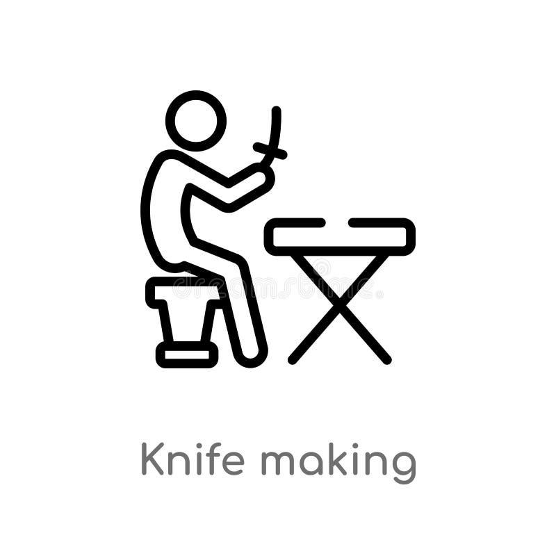 couteau d'ensemble faisant l'icône de vecteur ligne simple noire d'isolement illustration d'élément d'activité et de concept de p illustration stock