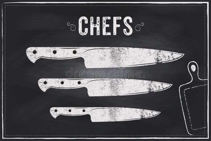 Couteau de chefs Conception d'illustration de craie de croquis de vecteur photos libres de droits