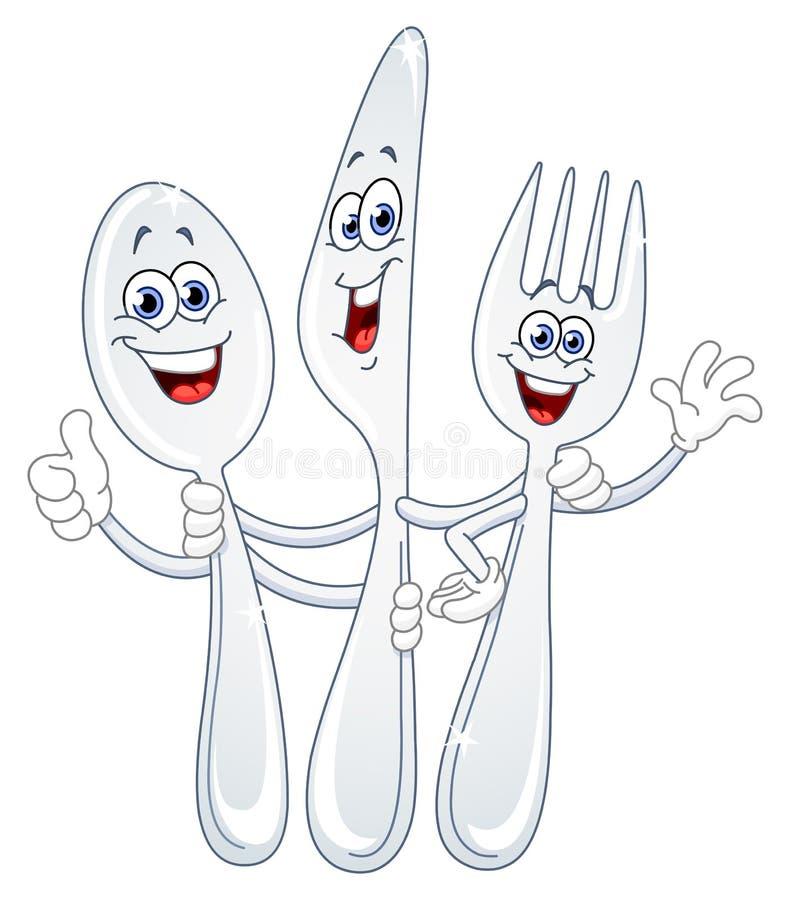 Couteau de cuillère et dessin animé de fourchette illustration de vecteur