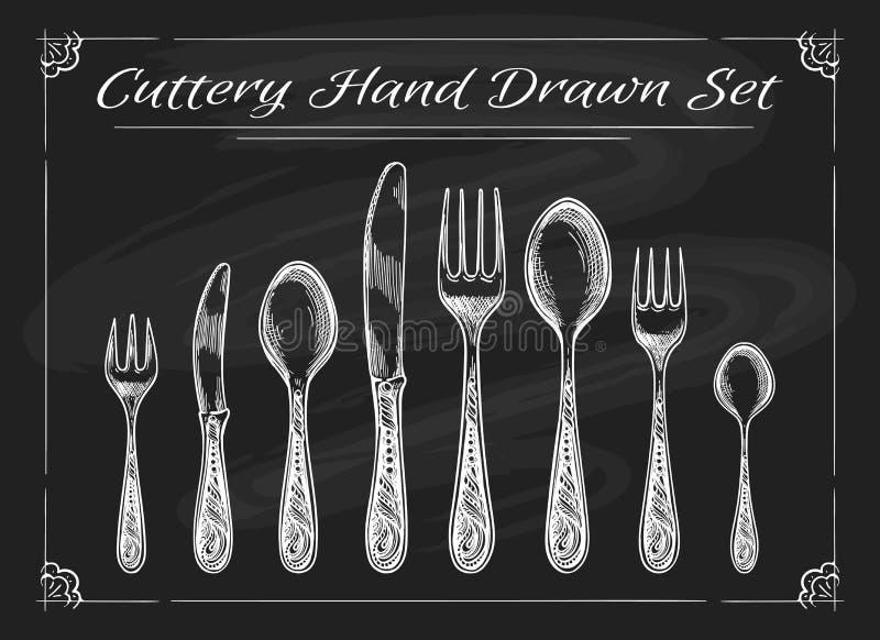 Couteau de cuillère de fourchette sur le tableau illustration stock