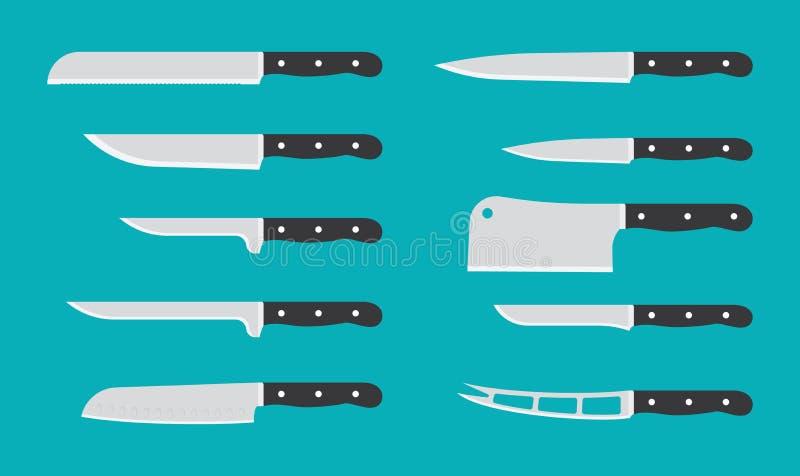 Couteau de cuisine plat réglé avec des noms de signature couteaux de vecteur illustration libre de droits