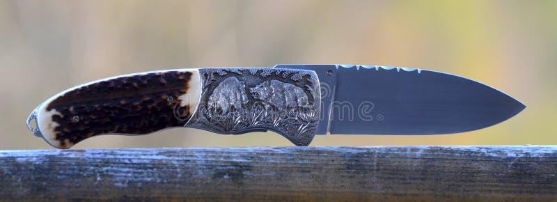 Couteau de poche de chasse avec les sangliers gravant images libres de droits