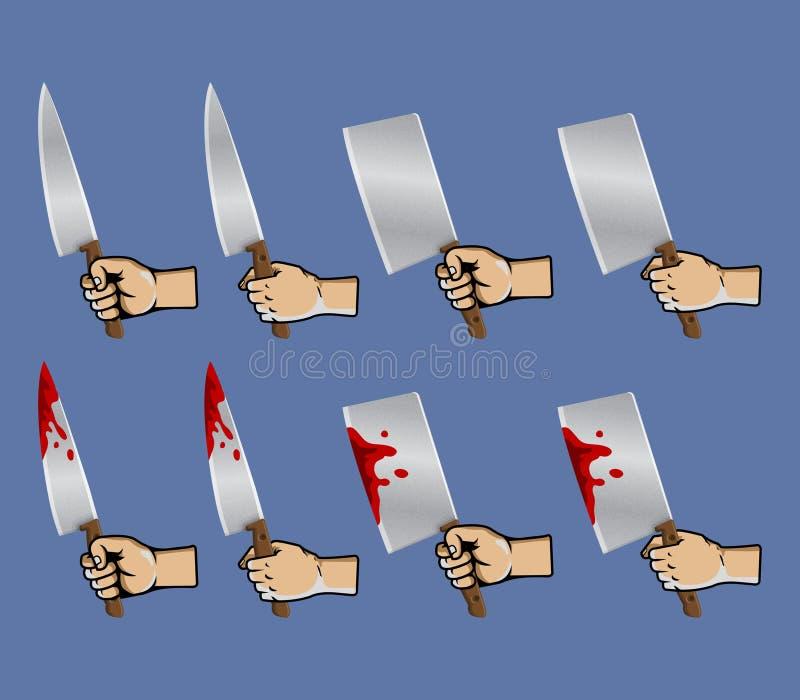 Couteau de viande de grippage de main illustration libre de droits