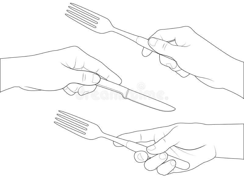 Couteau et fourchette réglés de main illustration de vecteur
