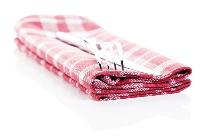 Couverts sur une serviette photographie stock