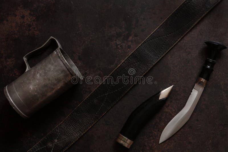 Couteau fait main de combat d'acier inoxydable de combat photos libres de droits
