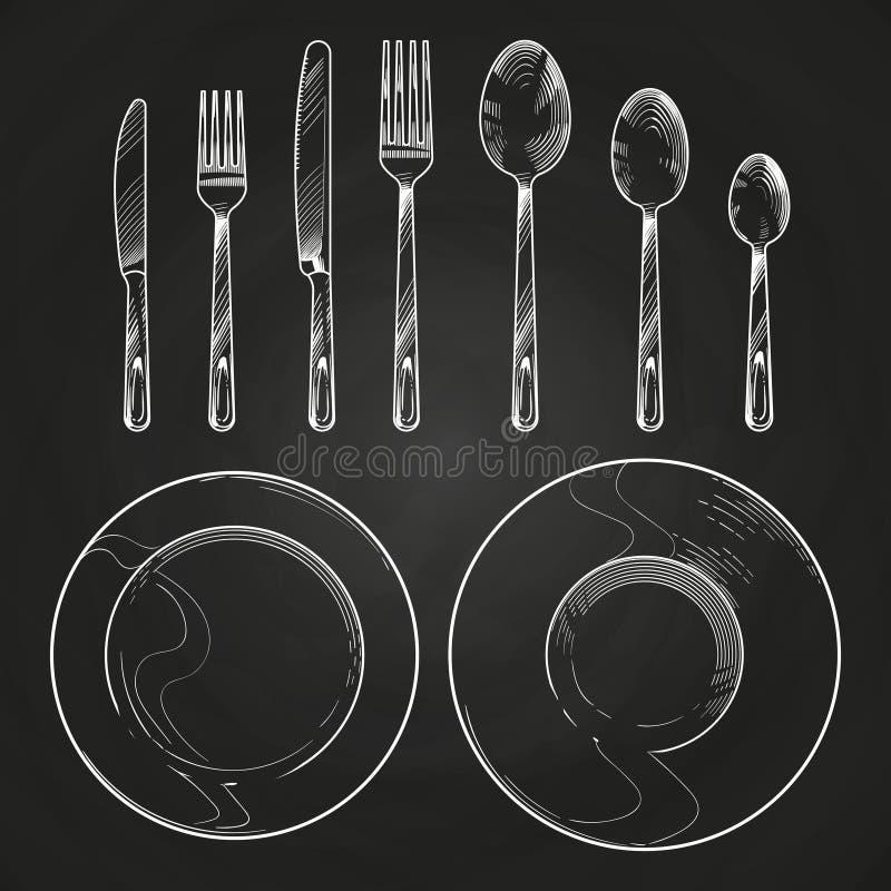 Couteau, fourchette, cuillère et plats de vintage dans le style de gravure de croquis Couverts de dessin de main sur le tableau n illustration de vecteur