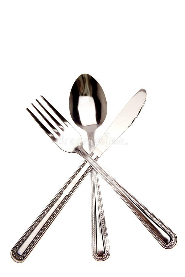 Couteau, fourchette et cuillère images libres de droits