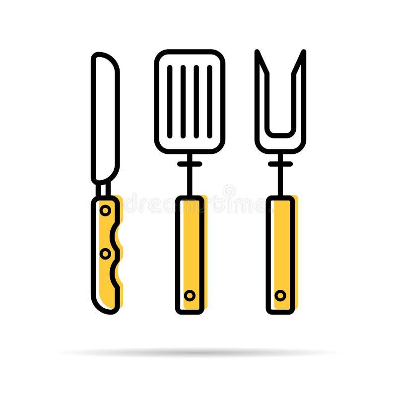Couteau, fourchette et spatule pour griller - icône linéaire illustration libre de droits