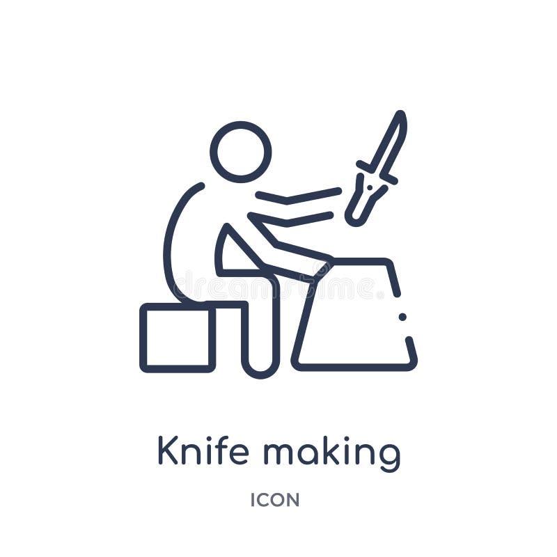 Couteau linéaire faisant l'icône à partir de l'activité et de la collection d'ensemble de passe-temps Ligne mince couteau faisant illustration stock