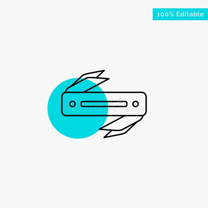 Couteau, rasoir, dièse, icône de vecteur de point de cercle de point culminant de turquoise de lame illustration libre de droits