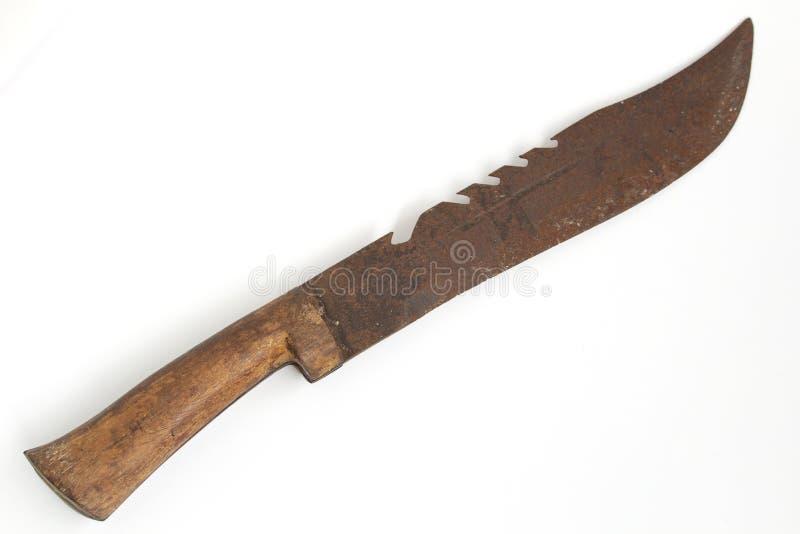 Couteau rouillé, couteau de poche sur le fond blanc photographie stock libre de droits
