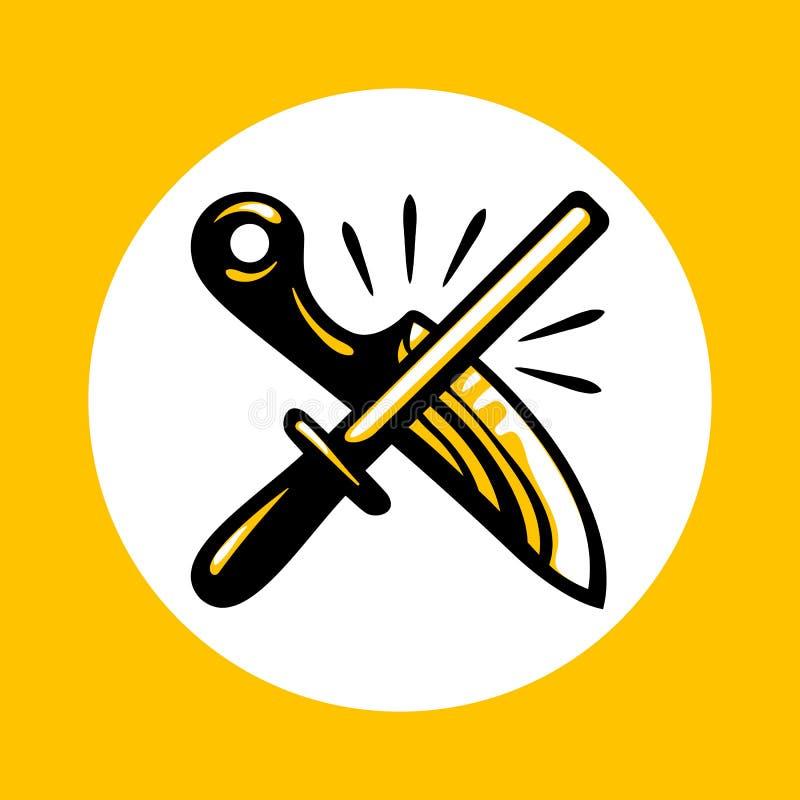 Couteaux affilant l'icône dans le style plat à la mode illustration de vecteur