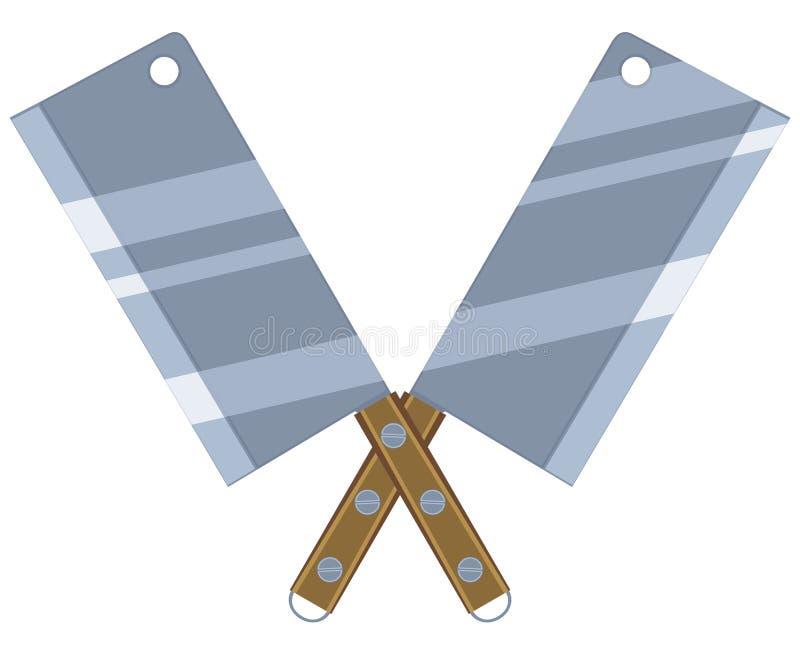 Couteaux croisés de BBQ de la bande dessinée deux colorés illustration de vecteur