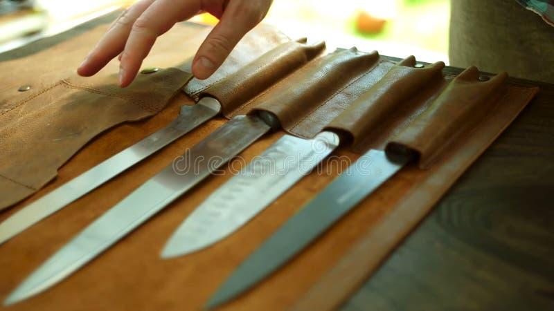 Couteaux de cuisine Faites cuire, argent photographie stock libre de droits