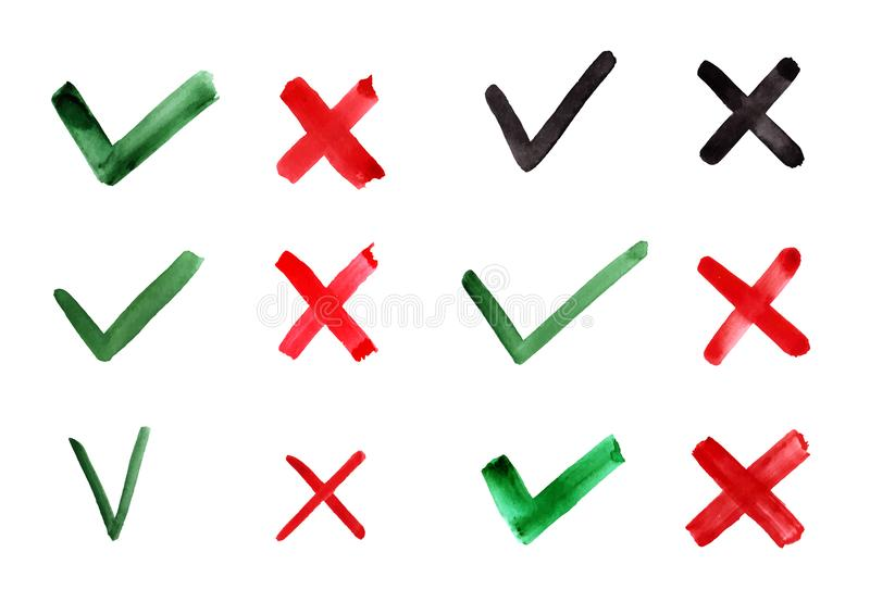 Coutil et croix tirés par la main Coches d'indication pour le concept oui et non Éléments de graphique de vecteur d'isolement sur illustration libre de droits