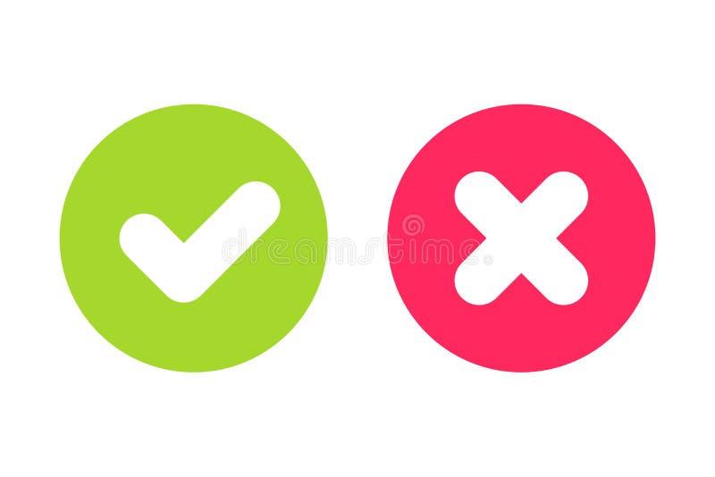 Coutil vert et signes de Croix-Rouge pour l'oui et aucun boutons illustration de vecteur