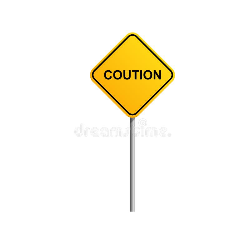 Coution road sign with blue sky and cloud background stock illustration