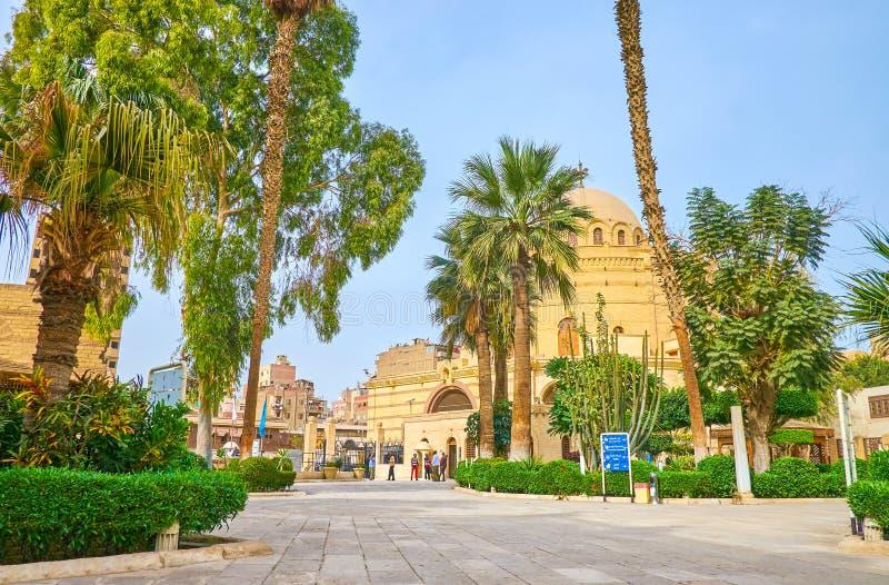 Coutryard van Koptisch Museum in Kaïro, Egypte stock fotografie