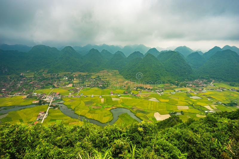 The village in BacSon - Vietnam. The coutryside in BacSon - Lang Son, Vietnam stock photo