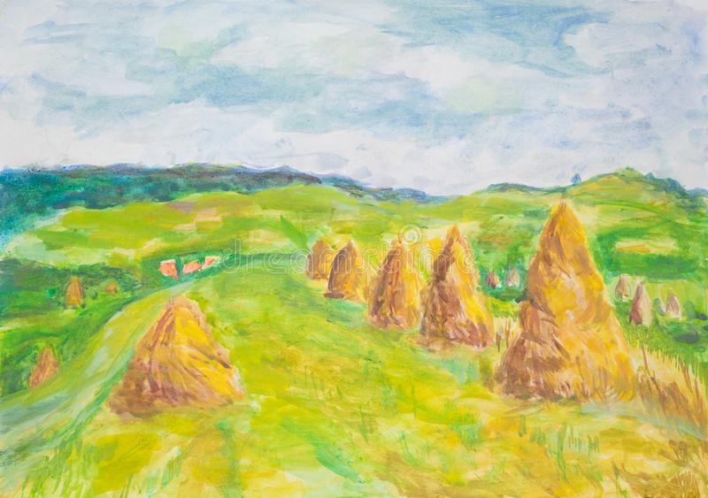 Coutryside krajobraz z haaystacks, akwarela obraz ilustracji
