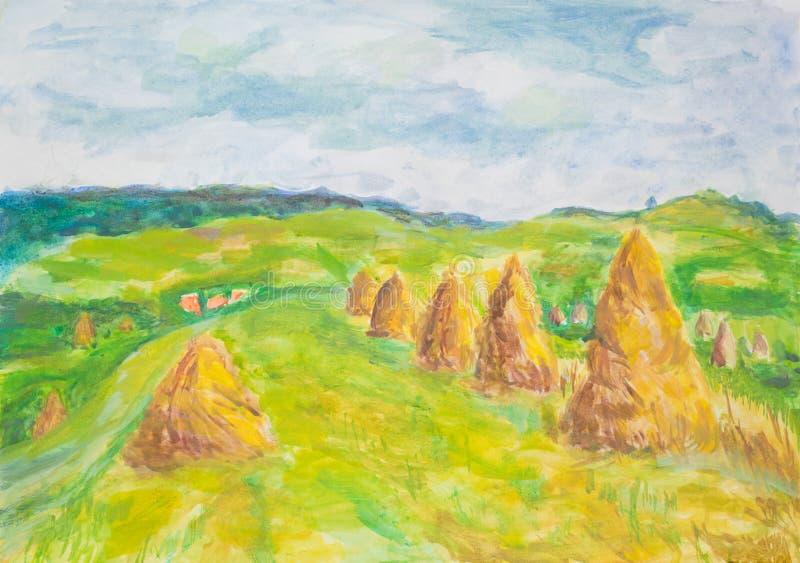 Coutrysidelandschap met haaystacks, waterverf het schilderen stock illustratie