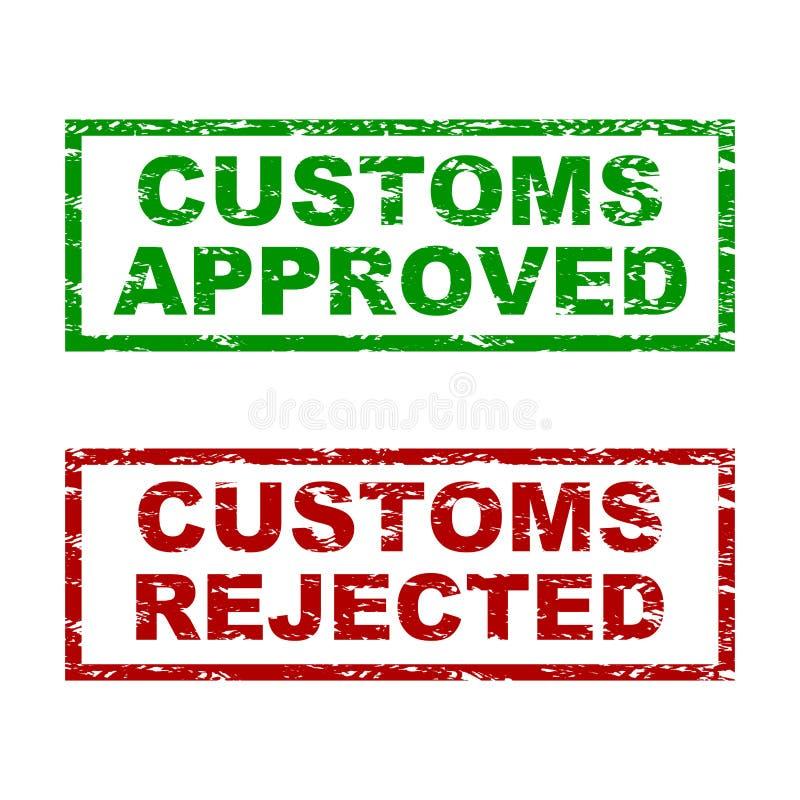 Coutumes approuvées et tampon en caoutchouc rejeté illustration libre de droits