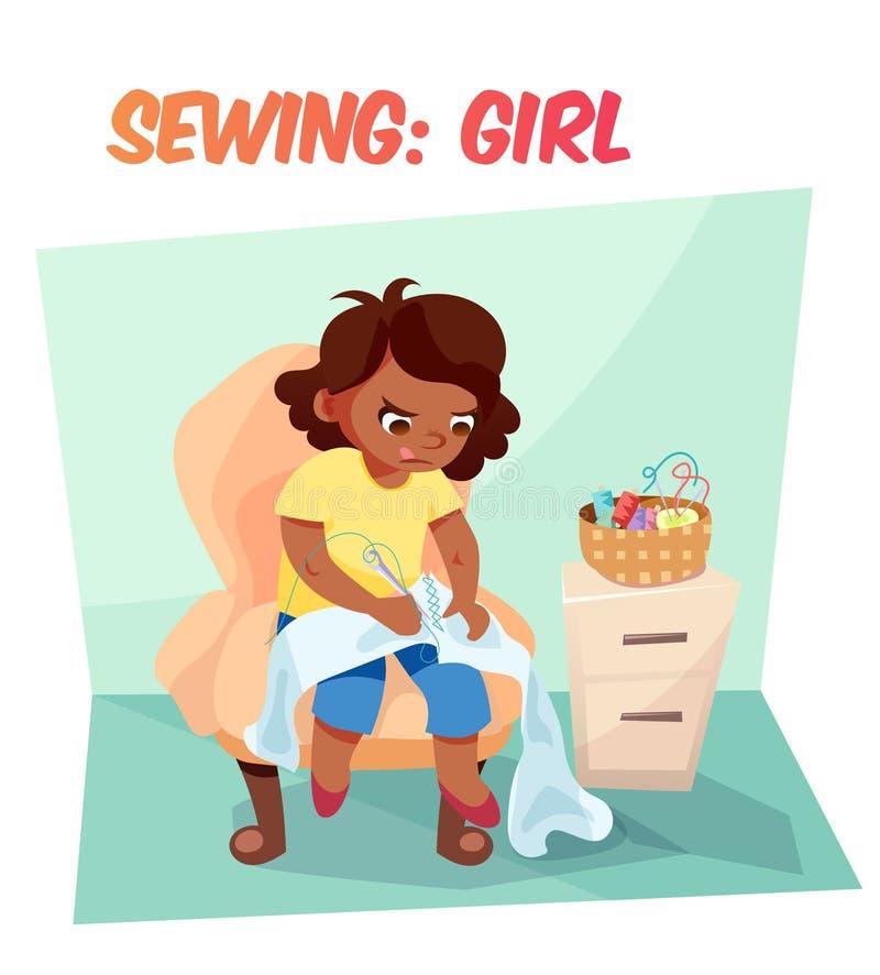 Couture drôle de fille d'afro-américain d'illustration illustration stock