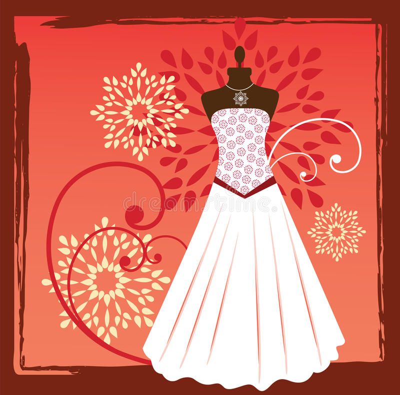 Couture gown. Gown with bodice and bodyform necklace flowers grunge frame vector illustration