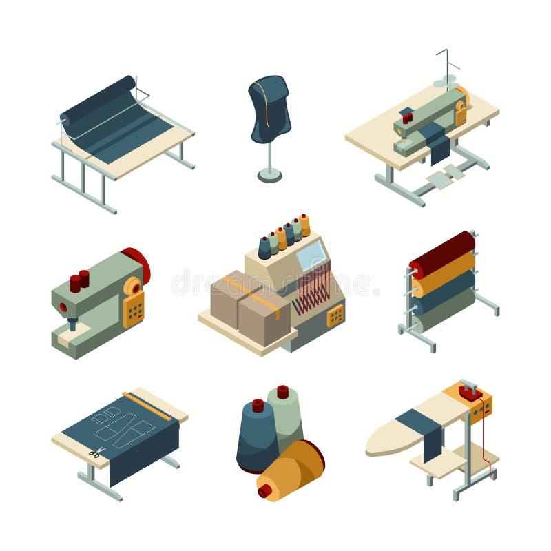 Couture isométrique Ensemble d'images de vecteur de fabrication de textile de production de broderie de vêtement illustration de vecteur