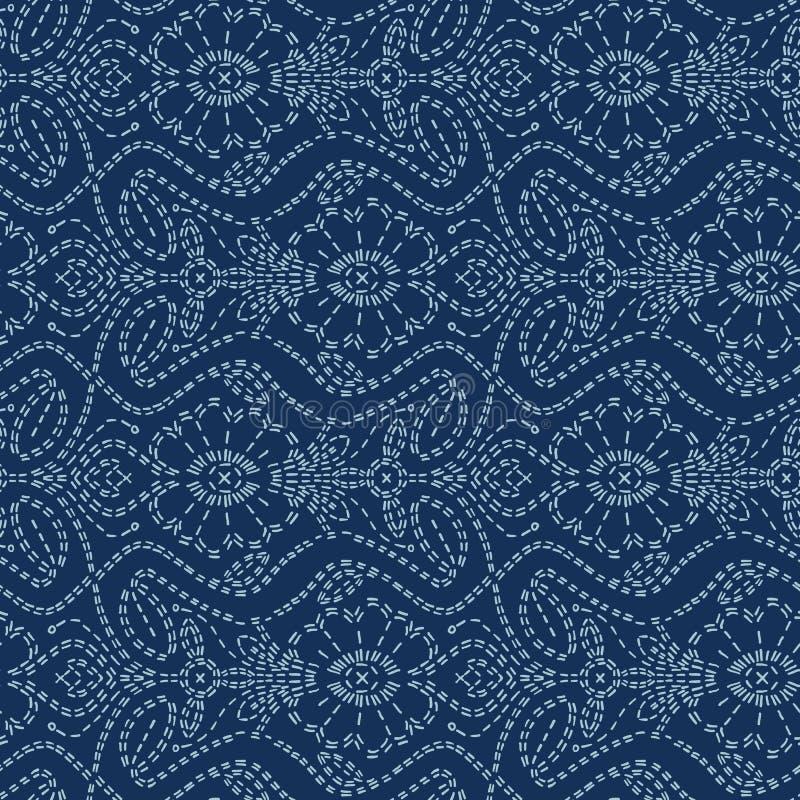 Couture japonaise de motif de style floral de sashiko Configuration sans joint de vecteur Ligne bleue textile d'indigo de fleur d illustration stock
