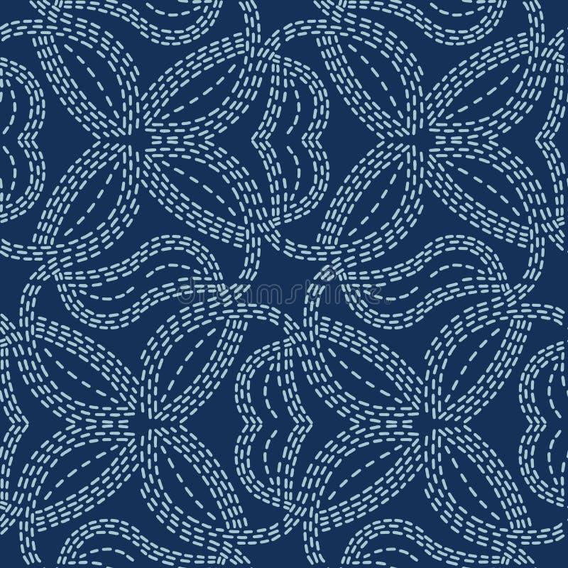 Couture japonaise tiss?e de style de sashiko de motif Configuration sans joint de vecteur illustration stock