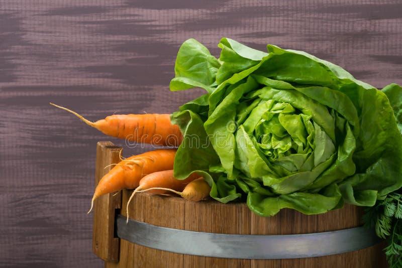 Couve e cenouras frescas em um tambor de madeira para salgar imagens de stock royalty free